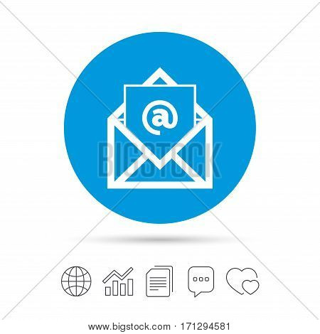 Mail icon. Envelope symbol. Message at sign. Mail navigation button. Copy files, chat speech bubble and chart web icons. Vector