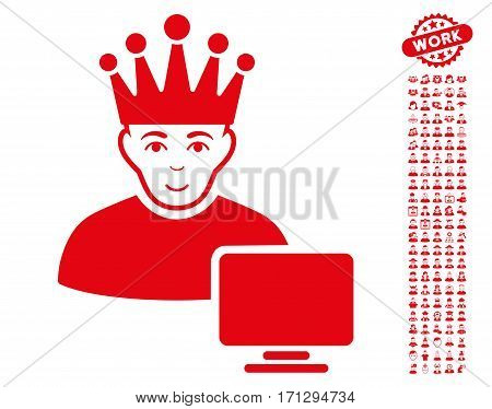 Computer Moderator icon with bonus occupation pictograph collection. Vector illustration style is flat iconic red symbols on white background.