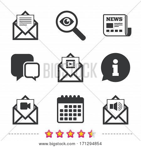 Mail envelope icons. Message document symbols. Video and Audio voice message signs. Newspaper, information and calendar icons. Investigate magnifier, chat symbol. Vector