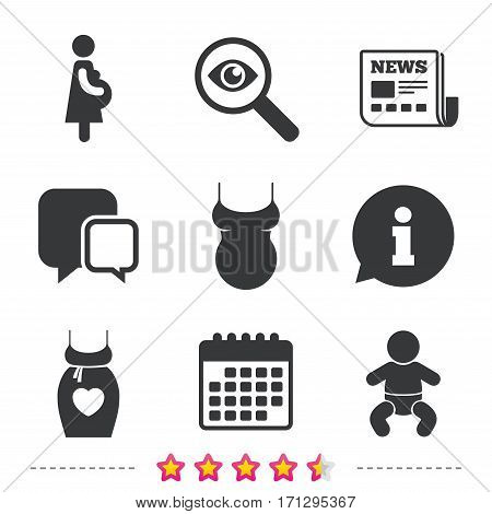 Maternity icons. Baby infant, pregnancy and shirt signs. Dress with heart symbol. Newspaper, information and calendar icons. Investigate magnifier, chat symbol. Vector
