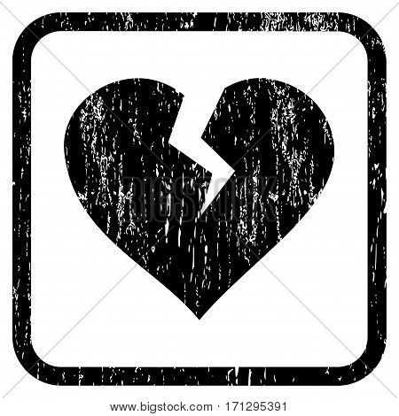 Heart Break rubber watermark. Vector pictogram symbol inside rounded rectangle with grunge design and unclean texture. Stamp seal illustration. Unclean black ink sign on a white background.