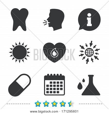 Maternity icons. Pill, tooth, chemistry and heart signs. Blood donation symbol. Lab bulb with drops. Dental care. Information, go to web and calendar icons. Sun and loud speak symbol. Vector