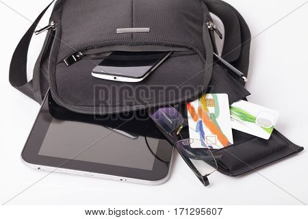 Mens business bag with the tablet and mobile phone