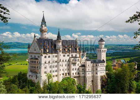 Summer Landscape - Famous Tourist Attraction In The Alps - Neuschwanstein Castle