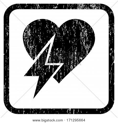 Heart Shock rubber watermark. Vector icon symbol inside rounded rectangular frame with grunge design and dirty texture. Stamp seal illustration. Unclean black ink sticker on a white background.