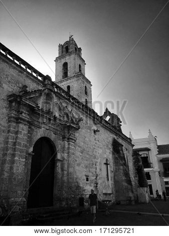Cathedral of Havana San Cristobal, Side-view, Black and White