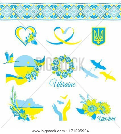 Decorative elements in the Ukrainian style national colors on a white background