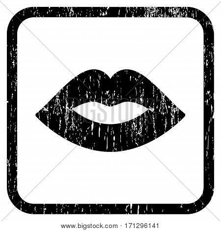 Lips rubber watermark. Vector icon symbol inside rounded rectangle with grunge design and dirty texture. Stamp seal illustration. Unclean black ink sign on a white background.