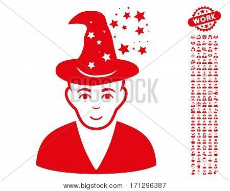Magic Master pictograph with bonus avatar images. Vector illustration style is flat iconic red symbols on white background.
