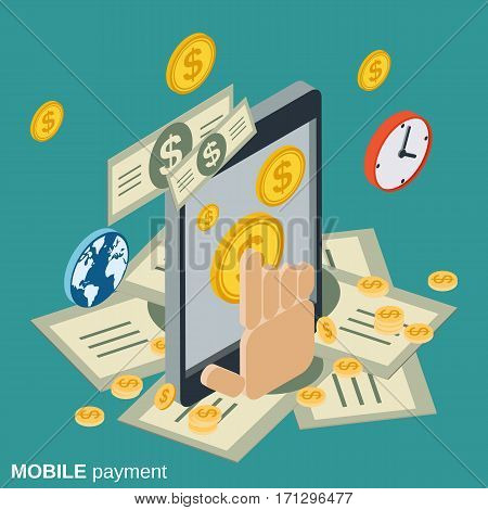 Mobile payment, money transfer, financial transaction flat isometric vector concept
