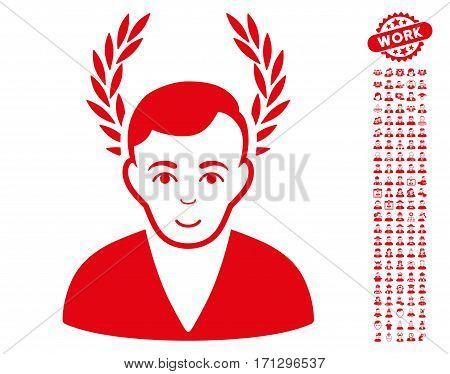 Man Glory icon with bonus occupation symbols. Vector illustration style is flat iconic red symbols on white background.