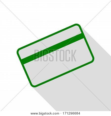 Credit card symbol for download. Green icon with flat style shadow path.