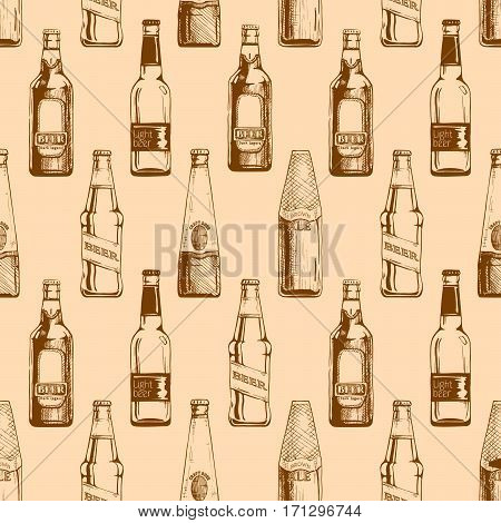 Vector seamless pattern with different beer bottles. illustration background in ink hand drawn style