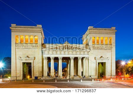Doric propylaen monument at night. Munich, Germany