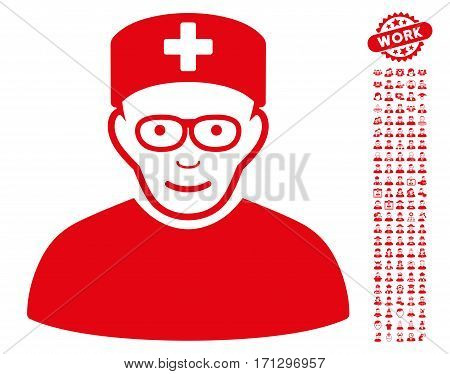 Medical Specialist icon with bonus occupation pictograph collection. Vector illustration style is flat iconic red symbols on white background.