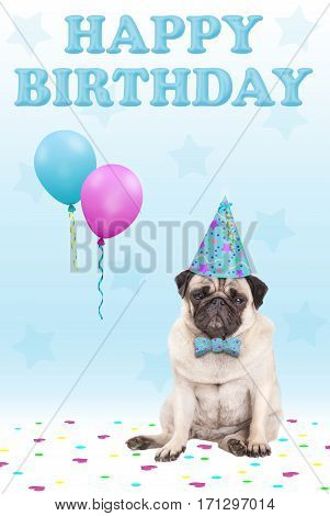 cute grumpy faced pug puppy dog with party hat balloons confetti and text happy birthday on blue background