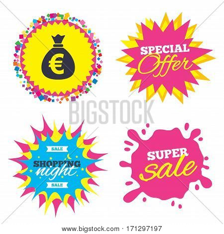 Sale splash banner, special offer star. Money bag sign icon. Euro EUR currency symbol. Shopping night star label. Vector