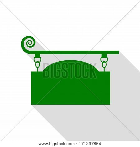 Wrought iron sign for old-fashioned design. Green icon with flat style shadow path.