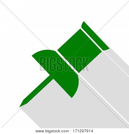 Pin push sign. Green icon with flat style shadow path.