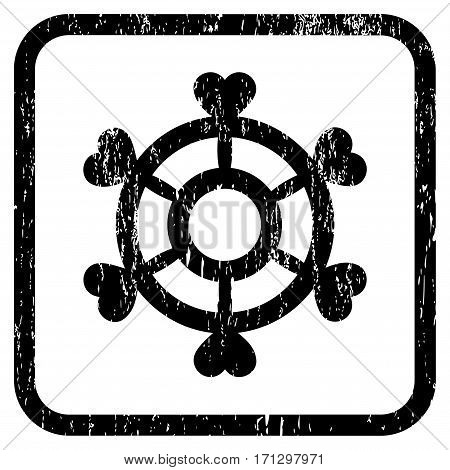 Lovely Boat Steering Wheel rubber watermark. Vector pictogram symbol inside rounded rectangle with grunge design and dust texture. Stamp seal illustration.