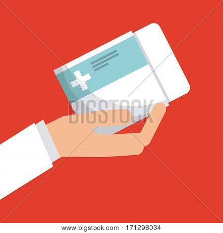 hand holding a pills box over red background. first aid concept. colorful design. vector illustration