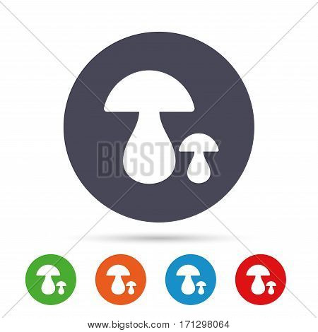 Mushroom sign icon. Boletus mushroom symbol. Round colourful buttons with flat icons. Vector