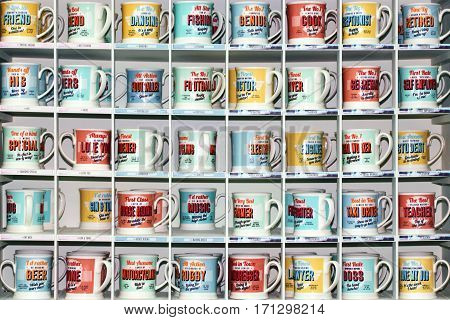Llanarthne, Wales, UK - January 19, 2017:  Coffee mugs on display for sale at the Botanic gardens of Wales