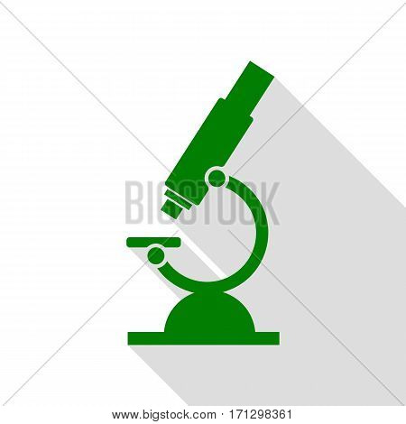 Chemistry microscope sign for laboratory. Green icon with flat style shadow path.