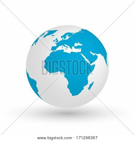 3D Earth globe. Vector EPS10 illustration of planet with blue continents silhouette. Focused on Africa.