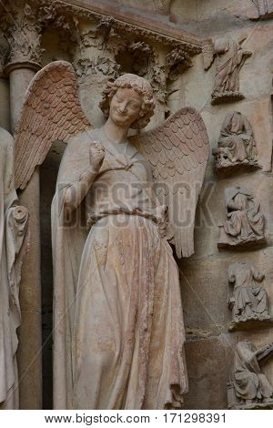 Reims France - july 25 2016 : the smiling angel of the Notre Dame cathedral where the kings of France were crowned