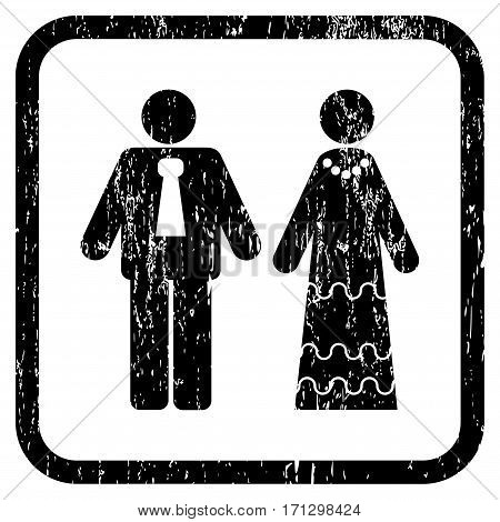 Newlyweds rubber watermark. Vector pictogram symbol inside rounded rectangle with grunge design and scratched texture. Stamp seal illustration. Unclean black ink sticker on a white background.