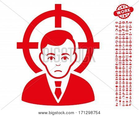 Victim Businessman icon with bonus avatar graphic icons. Vector illustration style is flat iconic red symbols on white background.