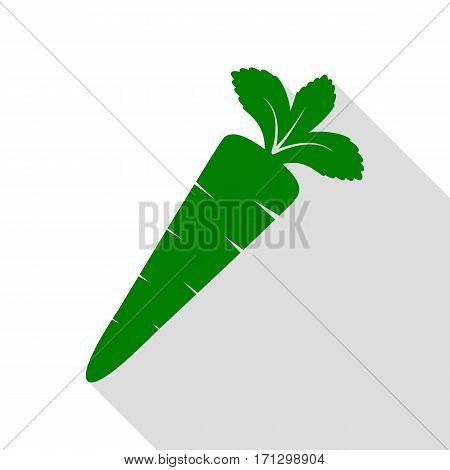 Carrot sign illustration. Green icon with flat style shadow path.