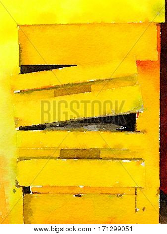 Digital watercolor painting of yellow slats that are falling apart. Higgledy piggledy wooden broken drawer background with space for text.