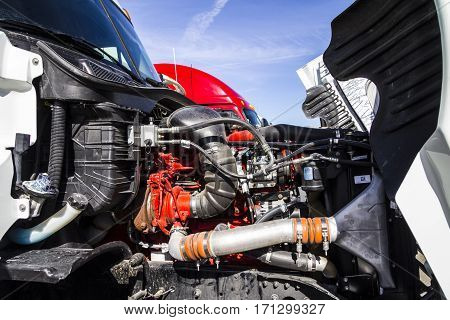 Indianapolis - Circa February 2017: Engine Compartment of a Semi Tractor Trailer Truck I