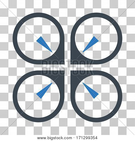 Hover Drone icon. Vector illustration style is flat iconic bicolor symbol smooth blue colors transparent background. Designed for web and software interfaces.