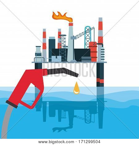oil industry rig and gasoline pump nozzle. colorful design. vector illustration