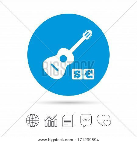 Acoustic guitar sign icon. Paid music symbol. Copy files, chat speech bubble and chart web icons. Vector