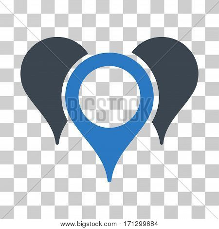 Map Pointers icon. Vector illustration style is flat iconic bicolor symbol smooth blue colors transparent background. Designed for web and software interfaces.