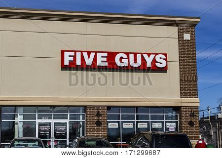 Indianapolis - Circa February 2017: Five Guys Restaurant. Five Guys is a Fast Casual Restaurant Chain in the US and Canada IV