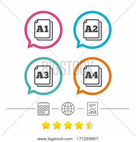 Paper size standard icons. Document symbols. A1, A2, A3 and A4 page signs. Calendar, internet globe and report linear icons. Star vote ranking. Vector
