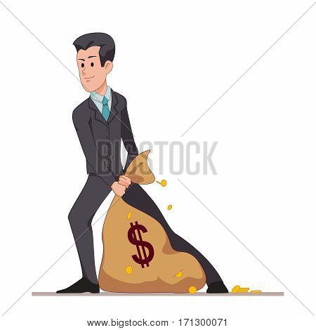 Businessman or manager drags a bag full of money. Flat character isolated on white background. Vector, illustration EPS10