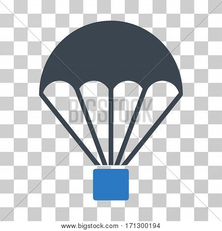 Parachute icon. Vector illustration style is flat iconic bicolor symbol smooth blue colors transparent background. Designed for web and software interfaces.