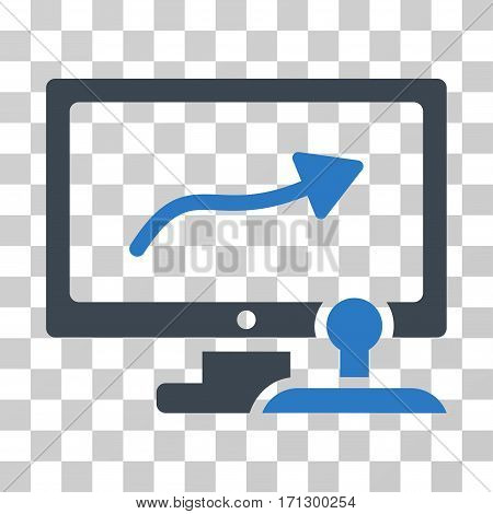 Path Control Monitor icon. Vector illustration style is flat iconic bicolor symbol smooth blue colors transparent background. Designed for web and software interfaces.