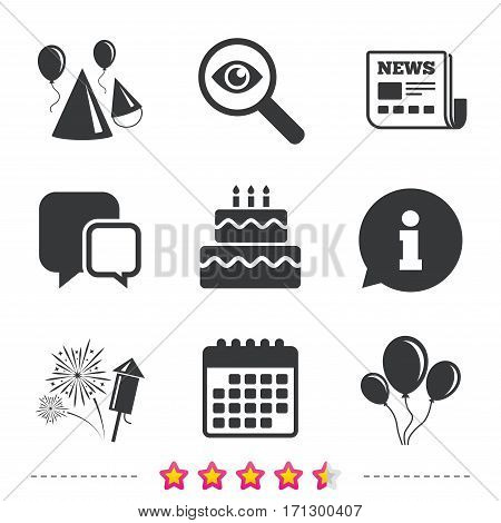 Birthday party icons. Cake, balloon, hat and muffin signs. Fireworks with rocket symbol. Double decker with candle. Newspaper, information and calendar icons. Investigate magnifier, chat symbol