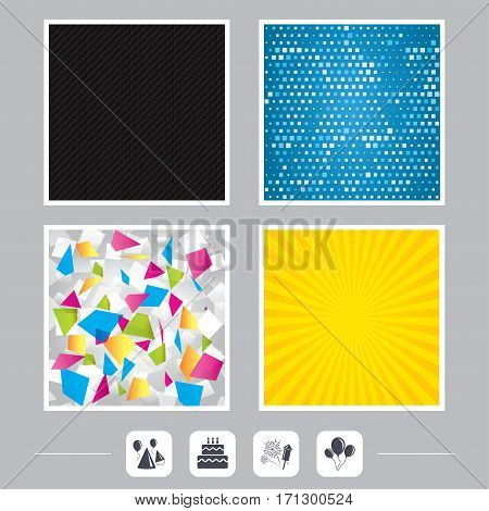 Carbon fiber texture. Yellow flare and abstract backgrounds. Birthday party icons. Cake, balloon, hat and muffin signs. Fireworks with rocket symbol. Double decker with candle. Flat design web icons