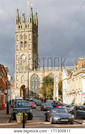 WINCHESTER UK - CIRCA 2013: Collegiate Church of St Mary viewed from Church Street Warwick UK