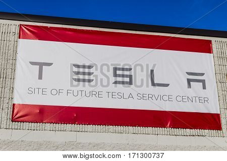 Indianapolis - Circa February 2017: Future Tesla Service Center. Tesla is a Technology and Design Company IV