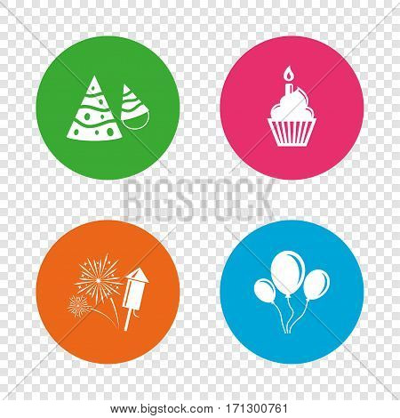 Birthday party icons. Cake, balloon, hat and muffin signs. Fireworks with rocket symbol. Cupcake with candle. Round buttons on transparent background. Vector