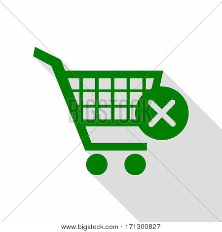 Shopping Cart with delete sign. Green icon with flat style shadow path.